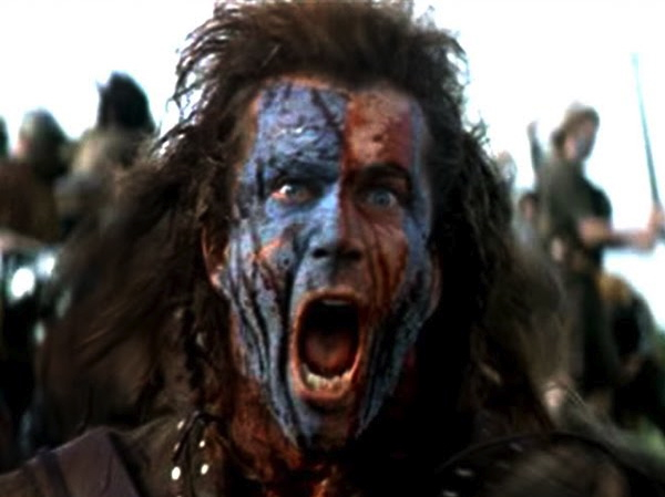 Coração Valente Mel Gibson cara pintada de azul